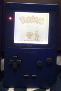 Pokémon Blue on a Backlit GameBoy Pocket